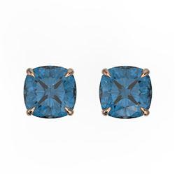 3 CTW Cushion Cut London Blue Topaz Designer Stud Earrings 14K Rose Gold - REF-17T3M - 21748