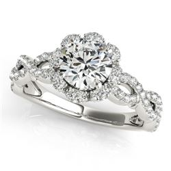 1.69 CTW Certified VS/SI Diamond Solitaire Halo Ring 18K White Gold - REF-411F3N - 26820