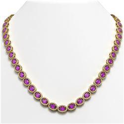 29.38 CTW Amethyst & Diamond Halo Necklace 10K Yellow Gold - REF-503M5H - 40441