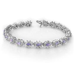 10.0 CTW Tanzanite & Diamond Bracelet 18K White Gold - REF-393T3M - 14446