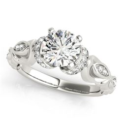 0.75 CTW Certified VS/SI Diamond Solitaire Antique Ring 18K White Gold - REF-133F3N - 27303