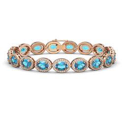 24.32 CTW Swiss Topaz & Diamond Halo Bracelet 10K Rose Gold - REF-252A8X - 40635