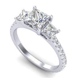 2.14 CTW Princess VS/SI Diamond Art Deco 3 Stone Ring 18K White Gold - REF-454W5F - 37205