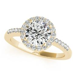 1.01 CTW Certified VS/SI Diamond Solitaire Halo Ring 18K Yellow Gold - REF-205A3X - 26325