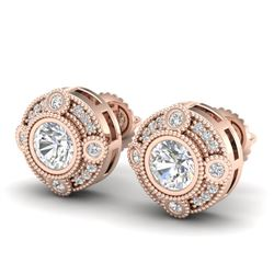 1.5 CTW VS/SI Diamond Solitaire Art Deco Stud Earrings 18K Rose Gold - REF-263Y6K - 36981
