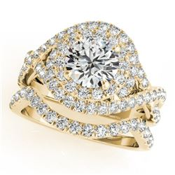 2.26 CTW Certified VS/SI Diamond 2Pc Wedding Set Solitaire Halo 14K Yellow Gold - REF-548T5M - 31039