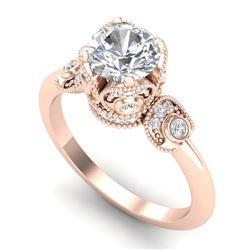 1.75 CTW VS/SI Diamond Solitaire Art Deco Ring 18K Rose Gold - REF-398H2A - 36855