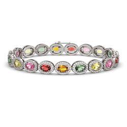 14.25 CTW Multi Color Sapphire & Diamond Halo Bracelet 10K White Gold - REF-304W5F - 40499