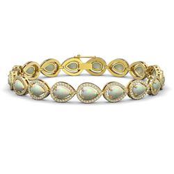 13.19 CTW Opal & Diamond Halo Bracelet 10K Yellow Gold - REF-301K5W - 41107
