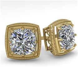 1.0 CTW VS/SI Cushion Cut Diamond Stud Solitaire Earrings Deco 18K Yellow Gold - REF-187A5X - 35965