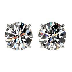 2 CTW Certified H-SI/I Quality Diamond Solitaire Stud Earrings 10K White Gold - REF-285N2Y - 33080