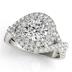 1.75 CTW Certified VS/SI Diamond Solitaire Halo Ring 18K White Gold - REF-421A8X - 26637