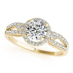 0.75 CTW Certified VS/SI Diamond Micro Pave Solitaire Halo Ring 18K Yellow Gold - REF-119X3T - 26804