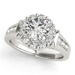 1.35 CTW Certified VS/SI Diamond Solitaire Halo Ring 18K White Gold - REF-173F8N - 26928