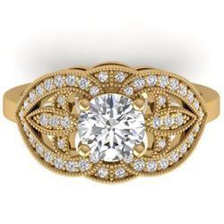 1.5 CTW Certified VS/SI Diamond Art Deco Micro Ring 14K Yellow Gold - REF-376A2X - 30512