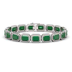 26.21 CTW Emerald & Diamond Halo Bracelet 10K White Gold - REF-368W8F - 41378