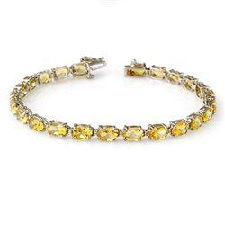 12.18 CTW Citrine Bracelet 10K White Gold - REF-43Y3K - 13739