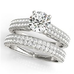2 CTW Certified VS/SI Diamond Solitaire 2Pc Wedding Set Antique 14K White Gold - REF-423A5X - 31481