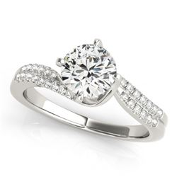 1.2 CTW Certified VS/SI Diamond Bypass Solitaire Ring 18K White Gold - REF-379X3T - 27729