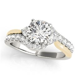1.1 CTW Certified VS/SI Diamond Bypass Solitaire Ring 18K White & Yellow Gold - REF-145T5M - 27736