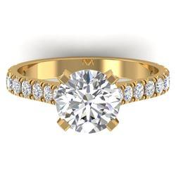 2.4 CTW Certified VS/SI Diamond Solitaire Art Deco Ring 14K Yellow Gold - REF-674K2W - 30443