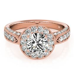 2 CTW Certified VS/SI Diamond Solitaire Halo Ring 18K Rose Gold - REF-435H3A - 27043