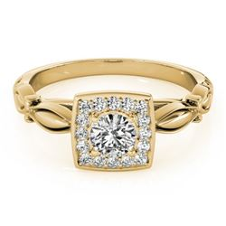 0.55 CTW Certified VS/SI Diamond Solitaire Halo Ring 18K Yellow Gold - REF-88A2X - 26256
