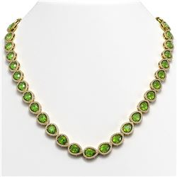 33.35 CTW Peridot & Diamond Halo Necklace 10K Yellow Gold - REF-664A2X - 41071