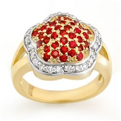 1.50 CTW Red Sapphire & Diamond Ring 14K Yellow Gold - REF-74X9T - 10542