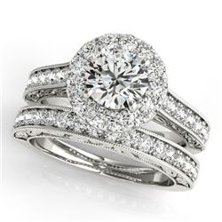 2.63 CTW Certified VS/SI Diamond 2Pc Wedding Set Solitaire Halo 14K White Gold - REF-591W2F - 30954