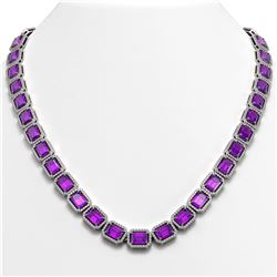 50.99 CTW Amethyst & Diamond Halo Necklace 10K White Gold - REF-677F6N - 41369