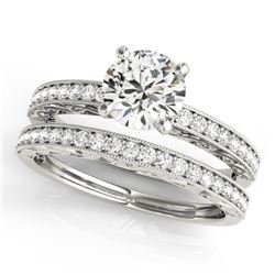 0.9 CTW Certified VS/SI Diamond Solitaire 2Pc Wedding Set Antique 14K White Gold - REF-130T8M - 3143