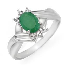0.90 CTW Emerald & Diamond Ring 10K White Gold - REF-15A5X - 14331
