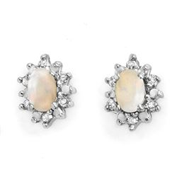 0.45 CTW Opal & Diamond Earrings 10K Yellow Gold - REF-17N5Y - 13212