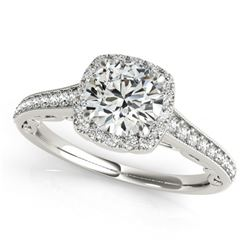 0.75 CTW Certified VS/SI Diamond Solitaire Halo Ring 18K White Gold - REF-98W4F - 26539