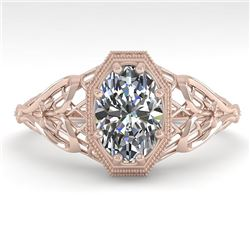 1.0 CTW VS/SI Oval Diamond Solitaire Engagement Ring Deco Size 7 18K Rose Gold - REF-299K4W - 36038