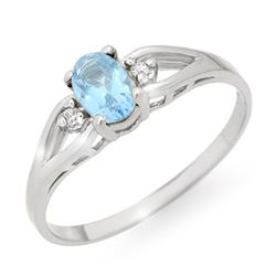 0.53 CTW Blue Topaz & Diamond Ring 18K White Gold - REF-20W2F - 12498