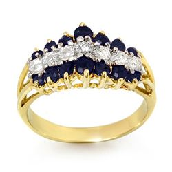 1.02 CTW Blue Sapphire & Diamond Ring 10K Yellow Gold - REF-27Y3K - 12326