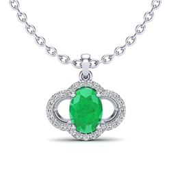 2 CTW Emerald & Micro Pave VS/SI Diamond Necklace 10K White Gold - REF-30X2T - 20630