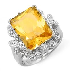 9.25 CTW Citrine & Diamond Ring 14K White Gold - REF-58K9W - 11485