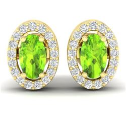 0.75 CTW Peridot & Micro Pave VS/SI Diamond Earrings Halo 18K Yellow Gold - REF-34N5Y - 21190