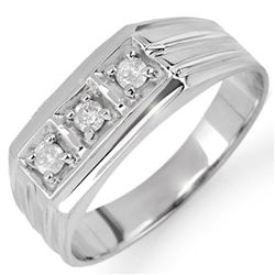 0.20 CTW Certified VS/SI Diamond Men's Ring 10K White Gold - REF-32H2A - 10265