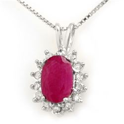 1.90 CTW Ruby & Diamond Pendant 18K White Gold - REF-38A2X - 13975