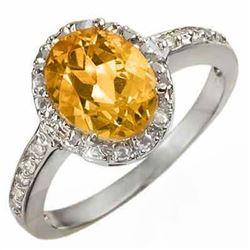 2.10 CTW Citrine & Diamond Ring 10K White Gold - REF-18M2H - 10069
