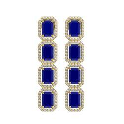 12.33 CTW Sapphire & Diamond Halo Earrings 10K Yellow Gold - REF-158K4W - 41434