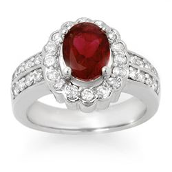 2.25 CTW Rubellite & Diamond Ring 14K White Gold - REF-87H8A - 10736