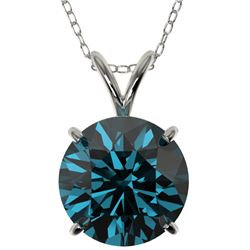 2.50 CTW Certified Intense Blue SI Diamond Solitaire Necklace 10K White Gold - REF-575W8F - 33246