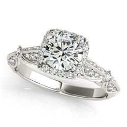 1.36 CTW Certified VS/SI Diamond Solitaire Halo Ring 18K White Gold - REF-388Y4K - 26527