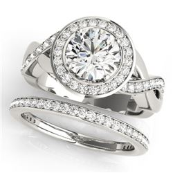 2.34 CTW Certified VS/SI Diamond 2Pc Wedding Set Solitaire Halo 14K White Gold - REF-545H5A - 30645