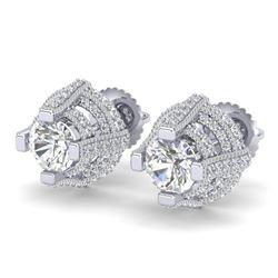 2.75 CTW VS/SI Diamond Micro Pave Stud Earrings 18K White Gold - REF-320M2H - 36950